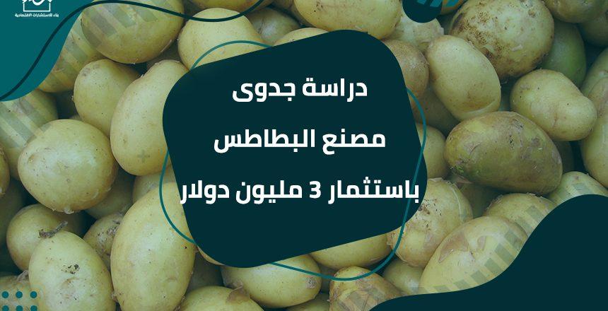 دراسة جدوى مصنع البطاطس باستثمار 3 مليون دولار